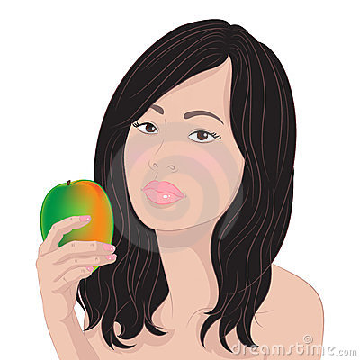 Asian girl with a mango
