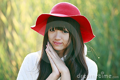 Asian girl outdoor portrait