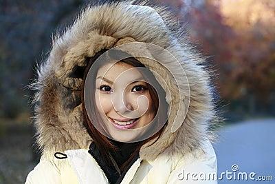 Asian girl in park