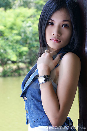 Asian girl in park