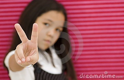 Asian Girl and Peace Sign