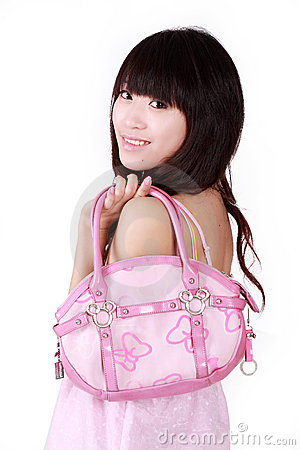 Asian girl with pink handbag
