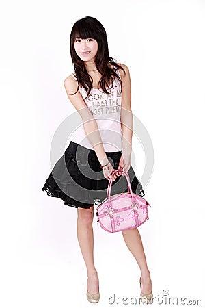 Asian girl with pink handbag