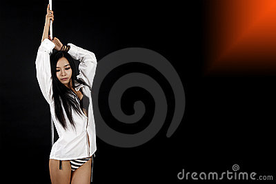 Asian girl with pole