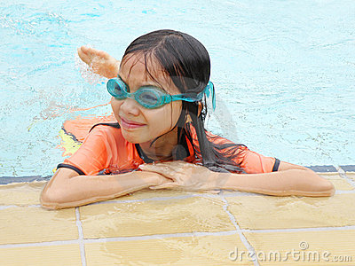 Asian girl in pool
