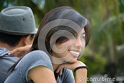 Asian girl portrait in park