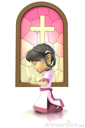 Asian girl praying in front stained glass window