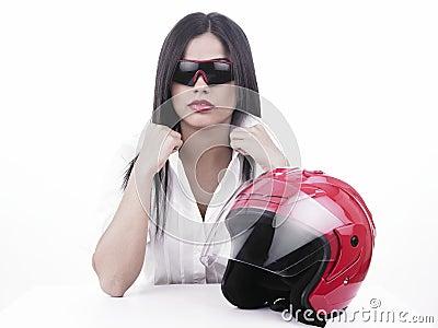Asian girl racer