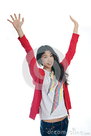 Asian girl raise arms