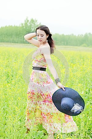 Asian girl in rape field