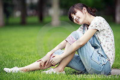 Asian girl relaxing outdoor