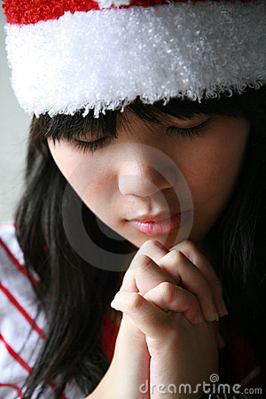 Asian girl with Santa hat