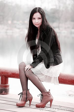 Asian girl in spring