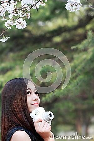 Asian girl in spring