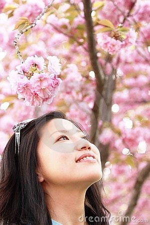 Asian girl in the spring outing
