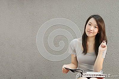 Asian Girl Studying