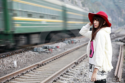 Asian girl and train