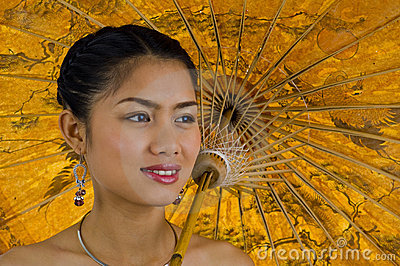 Asian girl with umbrella