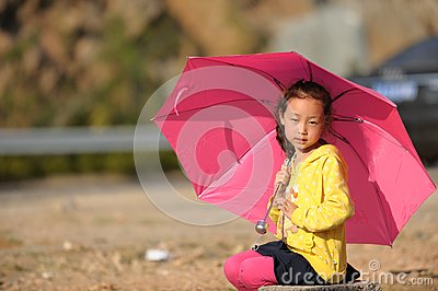 Asian girl and Umbrella