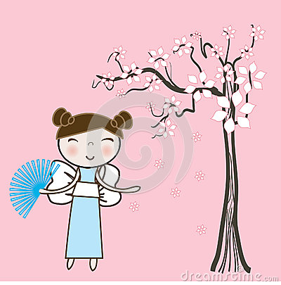 Asian girl under spring floral tree.