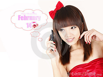 Asian girl in Valentine