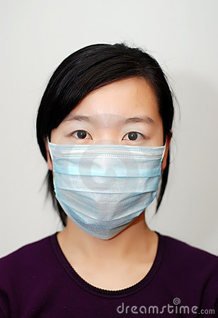 Asian girl wearing a mask