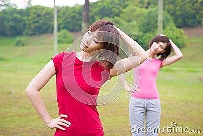 Asian girls workout outdoor
