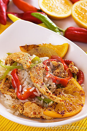 Asian gourmet chicken with rice and fried orange