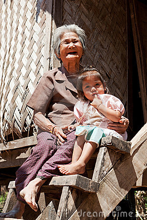 Asian grandmother with granddaughter