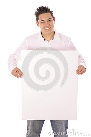Asian guy with blank sign vertical
