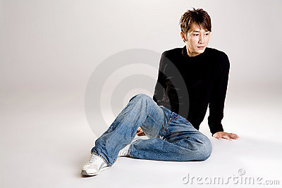 Asian guy in casual wear