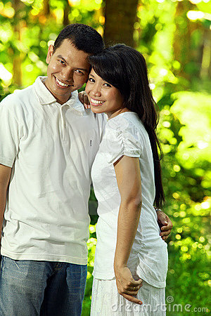 Asian happy couple
