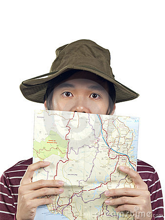 Asian hiker with map