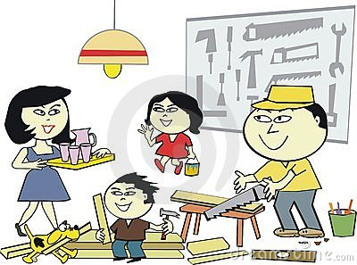Asian home workshop cartoon