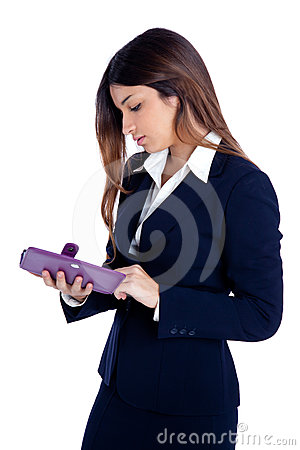 Asian indian business woman reading ebook tablet
