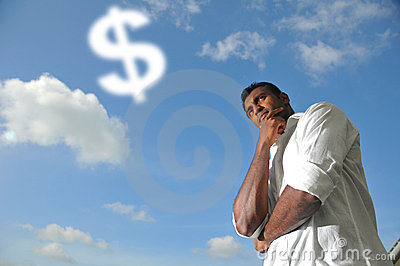 Asian Indian Man thinking about Money