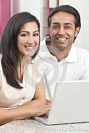 Asian Indian Man & Woman Couple Using Laptop