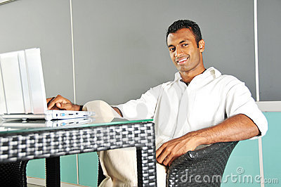 Asian Indian Man at Work with his computer