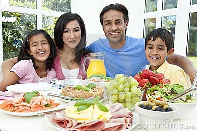 Asian Indian Parents Children Family Eating Food