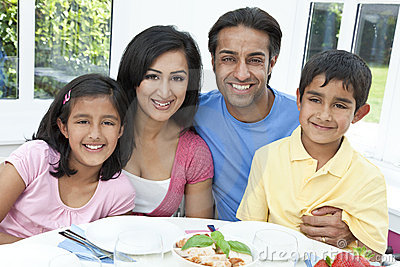 Asian Indian Parents Children Family Eating Meal