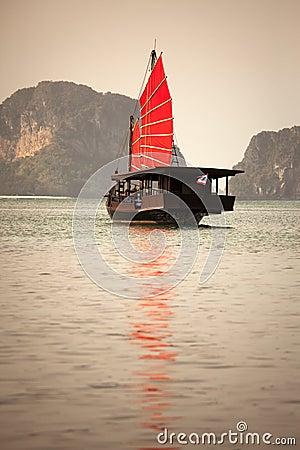 Asian junk boat