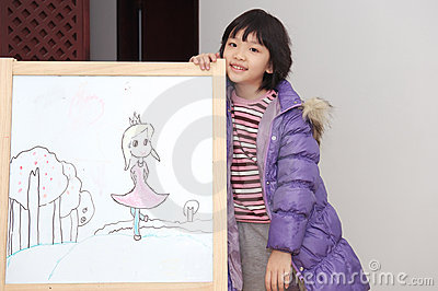 Asian kid drawing