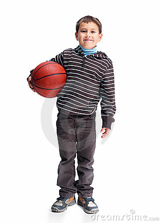 Asian kid holding basketball isolated on white