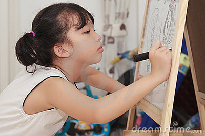 Asian kid painting