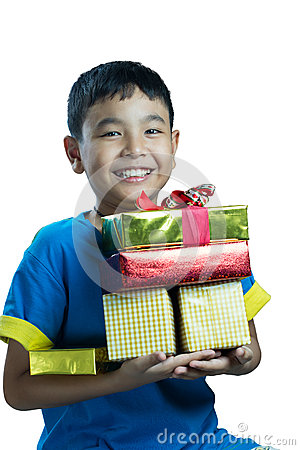 Free Asian Kid Smile Holding Stack Of Presents Boxes Stock Images - 46525454