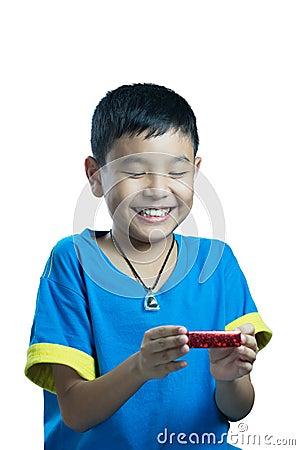 Free Asian Kid Smile Receive Christmas Gift Stock Photo - 46525040