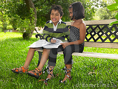 Asian kids in a park