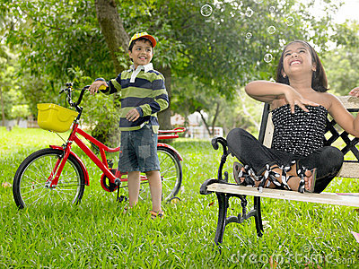 Asian Kids Playing In The Park Royalty Free Stock Photo ...