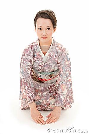 Free Asian Kimono Woman Bow Royalty Free Stock Image - 30808676