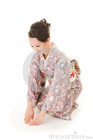 Asian kimono woman bow